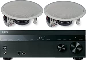 Sony 5.2-Channel 725-Watt 4K A/V Home Theater Receiver + Yamaha Easy-to-Install High-Performance Surround Sound 120 watt in-Ceiling Speaker System (Pair)