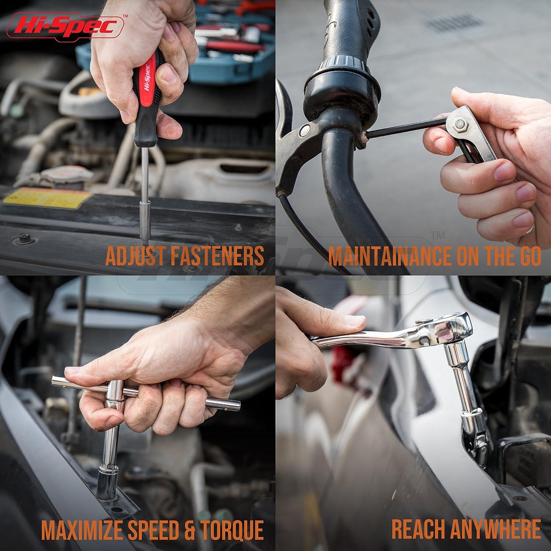 Spark Plug Gap Gapper Pliers Tire Gauge /& more in Storage Case Automotive Maintenance and Repair Tool Kit Hi-Spec 65 Piece Automotive Tool Set with SAE /& Metric Sockets including Spark Plug Sizes