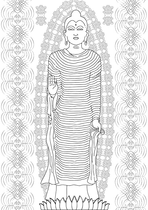 Amazon Com Buddha Statue Coloring Book For Adults Art Therapy For