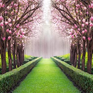 Leowefowa 10X10FT Spring Garden Backdrop Cherry Blossom Blooming Fresh Flowers Backdrops for Photography Jungle Forest Trees Plants Green Grassland Vinyl Photo Background Wedding Ceremony Studio Props
