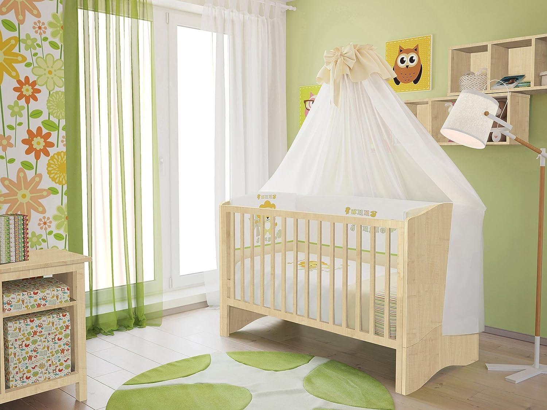 Polini Kids Kinderbett Babybett Set umbaubar zum Juniorbett mit Matratze und Bettset (7 -tlg.) und Himmelstange