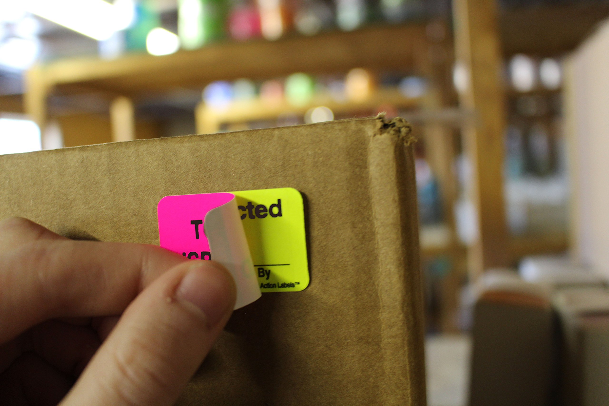 ChromaLabel 1 x 1-1/2 inch Fluorescent Pink/Yellow Double Layer QC Label | 'To Be Inspected/Inspected' Imprint | 250/Dispenser Box by ChromaLabel (Image #4)