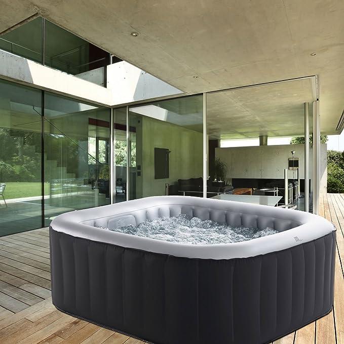 Whirlpool MSpa aufblasbar für 4 Personen 158x158cm In-Outdoor Pool 108  Massagedüsen Timer Heizung Aufblasfunktion per Knopfdruck Bubble Spa  Wellness ...