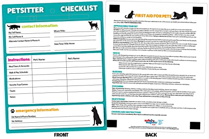 amazon com pet sitter checklist pet first aid information