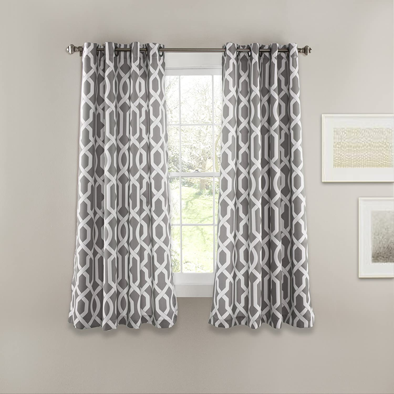 "Lush Decor Edward Trellis Curtains Room Darkening Gray Window Panel Set for Living, Dining, Bedroom (Pair), 63"" L"