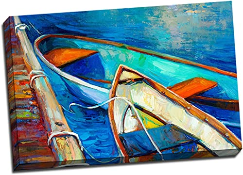 24×36 Row Boats by The Pier Expressionist Painting Stretched Canvas