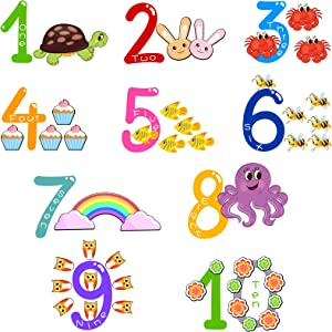 Number Wall Stickers Decals Animal Wall Decor, Peel and Stick Removable Wall Stickers Cartoon Animal Wall Decals Educational Wall Decor DIY Waterproof Vinyl Wall Sticker for Nursery Bedroom Playroom