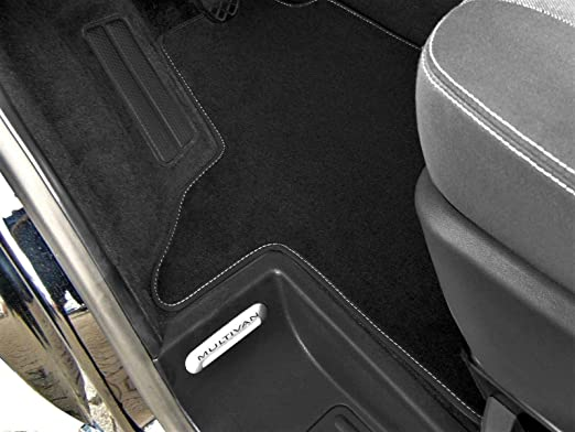Premium Fußmatte T6 Multivan Bus Transporter 2 Sitzer Velours Schwarz Fahrerhaus Nubuk Umrandung Auto