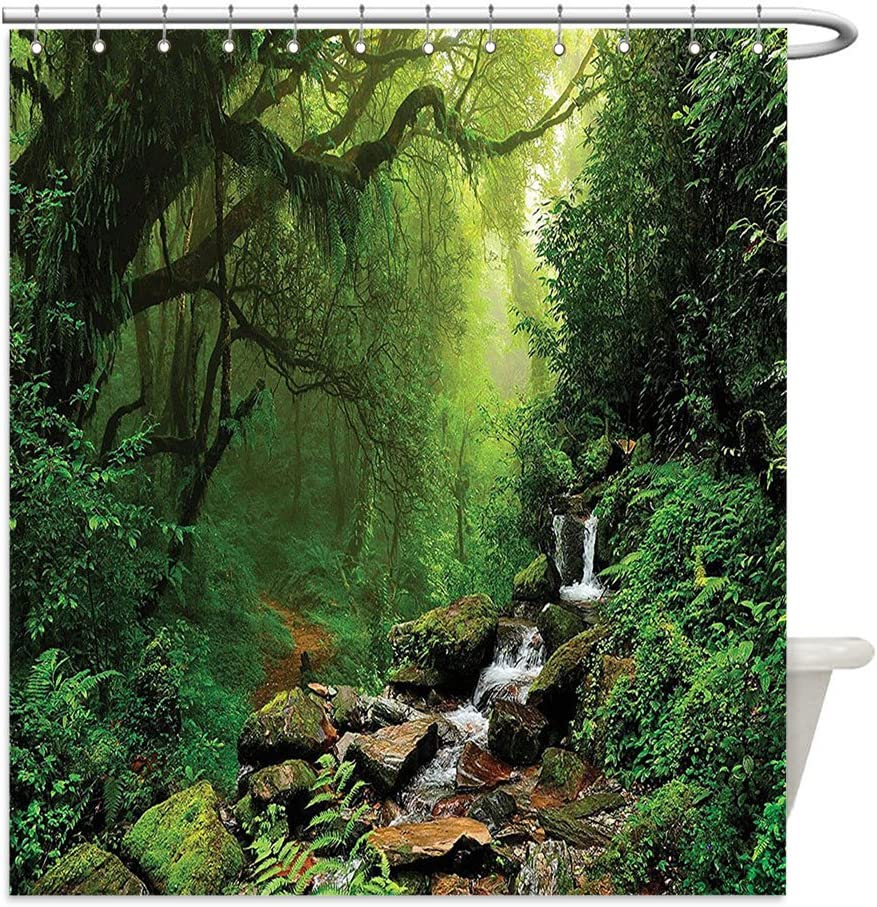 Forest Shower Curtain Spring in Nepal Footpath Print for Bathroom