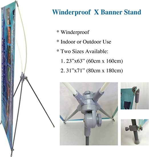 "Windproof Banner Stand for Grommeted Banner Signs in Sizes 23/""x63/"" or 31/""x71/"""