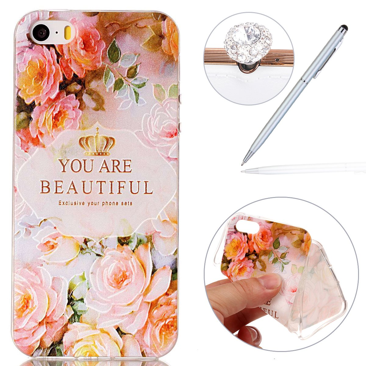 iphone 5 Case,iphone 5S Cover,Soft Cover for iphone SE, Felfy Colorful Panting Design Transparent Gel TPU Flexible Durable Shock Absorbing Scratch Resistant Protective Cover Skin Shell for Apple iphone 5/5S/SE + 1 Silver Stylus Pen + 1 Dust Plug.Cute Cat F