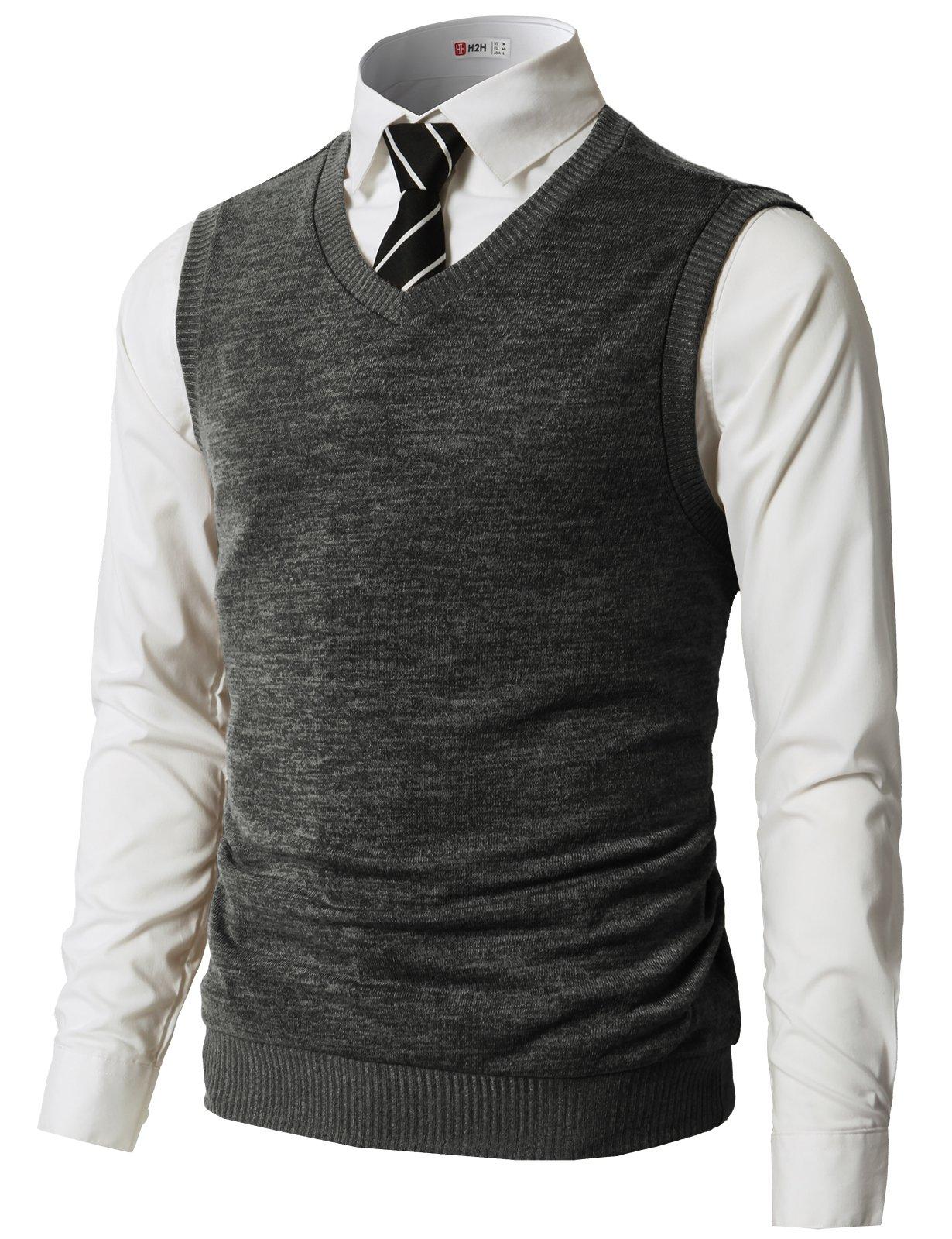 H2H Men's Heather Diamond-Texture Stitch V-Neck Vest Charcoal US L/Asia XL (CMOV042) by H2H