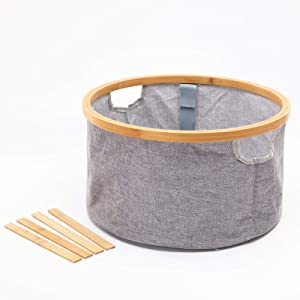 CYBMBO Kids Laundry Hamper, Small Collapsible Clothes Baskets For Bedroom, Nursery Storage Hamper For Toys, Bamboo 26L Grey