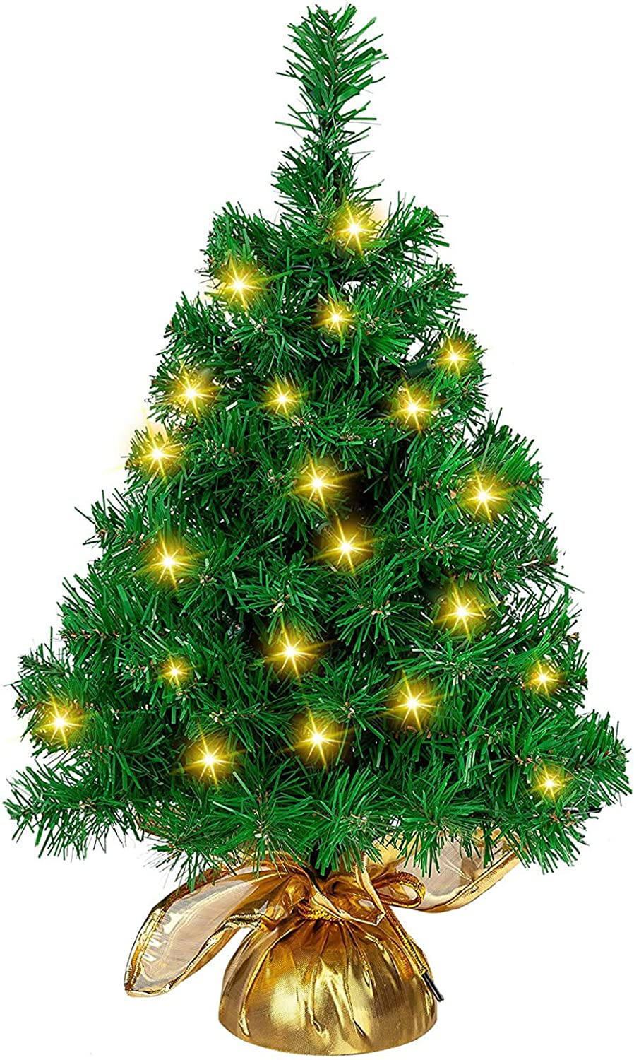 "Joiedomi 22"" Prelit Tabletop Christmas Tree with 100 Branch Tips and 50 Warm White Lights in Gold Cloth Bag for Home and Office Christmas Decorations"