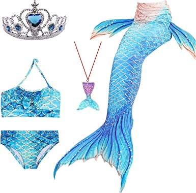 Girls Mermaid Tail Swimmable Bikini Set Swimwear Swimsuit4T-12
