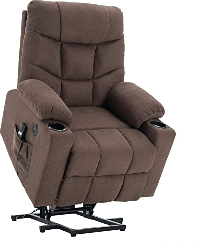 Mcombo Electric Power Lift Recliner Chair Sofa for Elderly, 3 Positions, 2 Side Pockets and Cup Holders, USB Ports, Fabric 7286 Brown