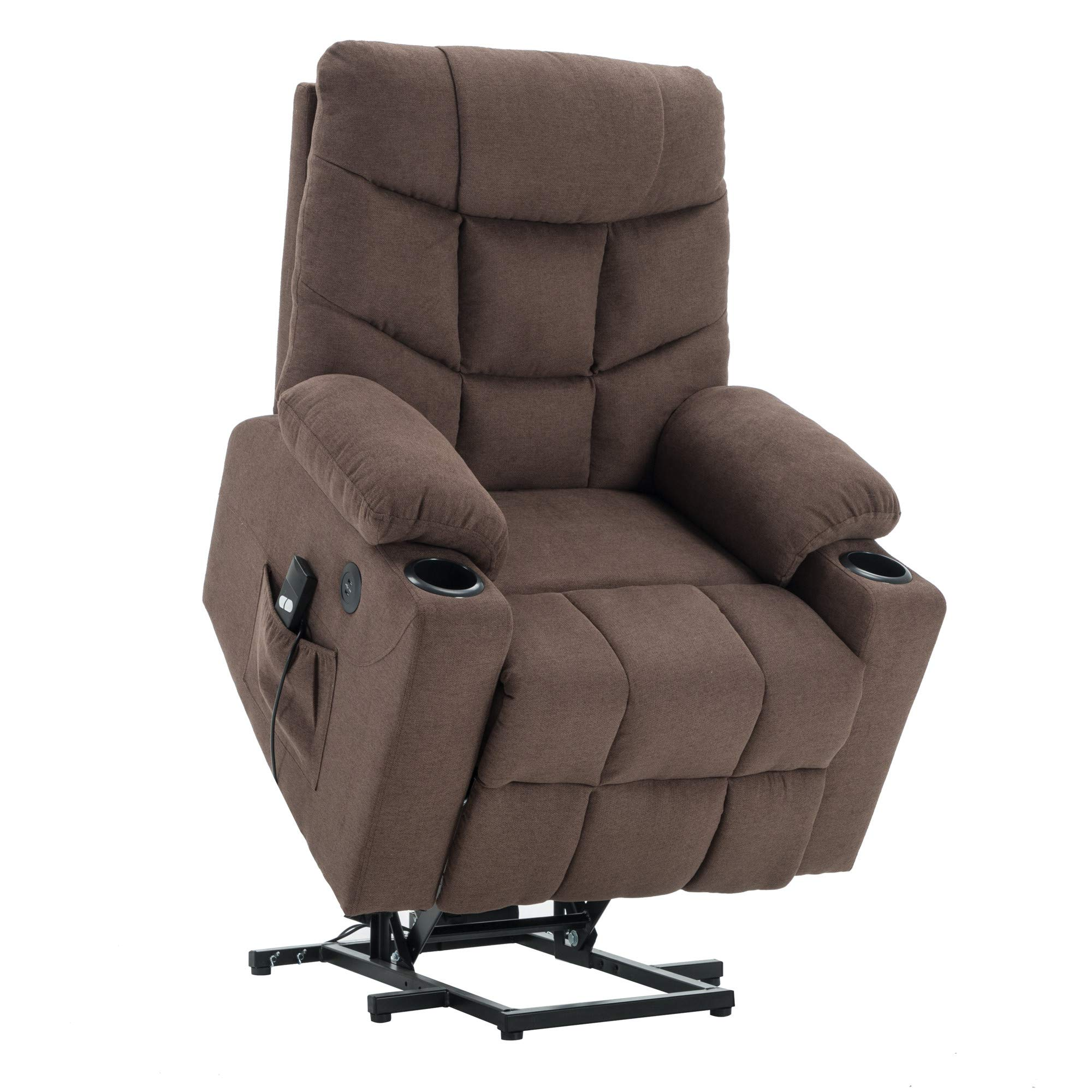 Power Lift Recliner Chair TUV Lift Motor Lounge w/Remote Control Dual USB Charging Ports Cup Holders Fabric Sofa Cloth 7286 (Brown)