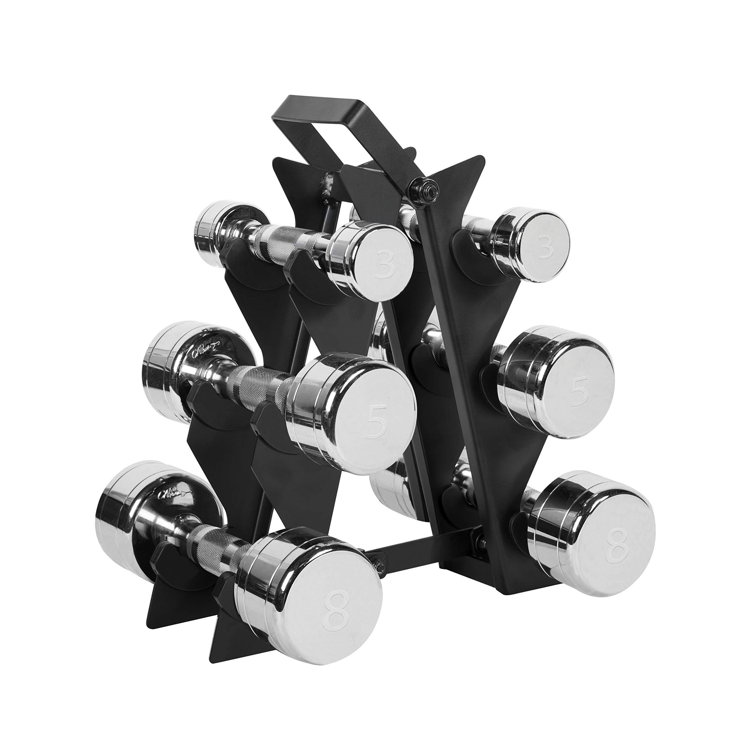 WF Athletic Supply Dumbbell Set with Storage Rack (32lb Chrome Dumbbell Set)