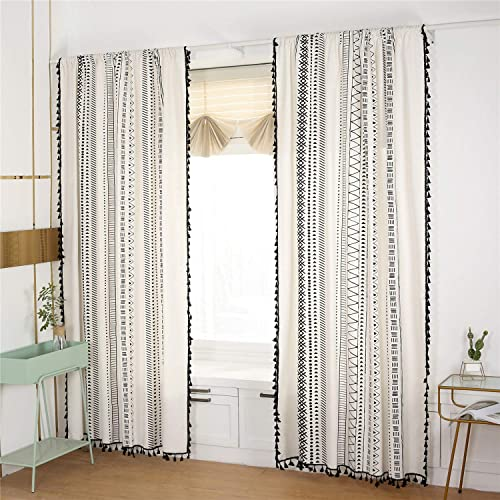 YOU SA 2-Panel Black Striped Window Curtain