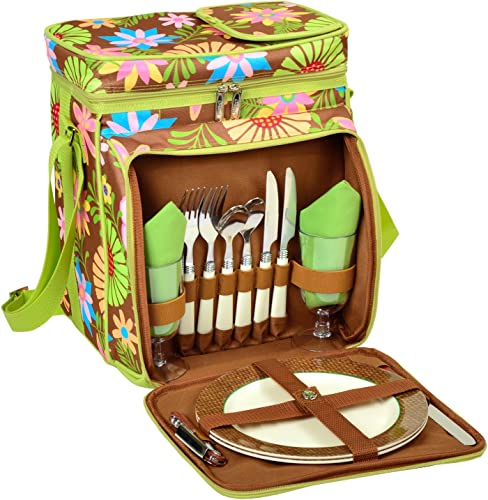 Picnic at Ascot Insulated Picnic Basket Cooler Fully Equipped with Service for 2 – Floral