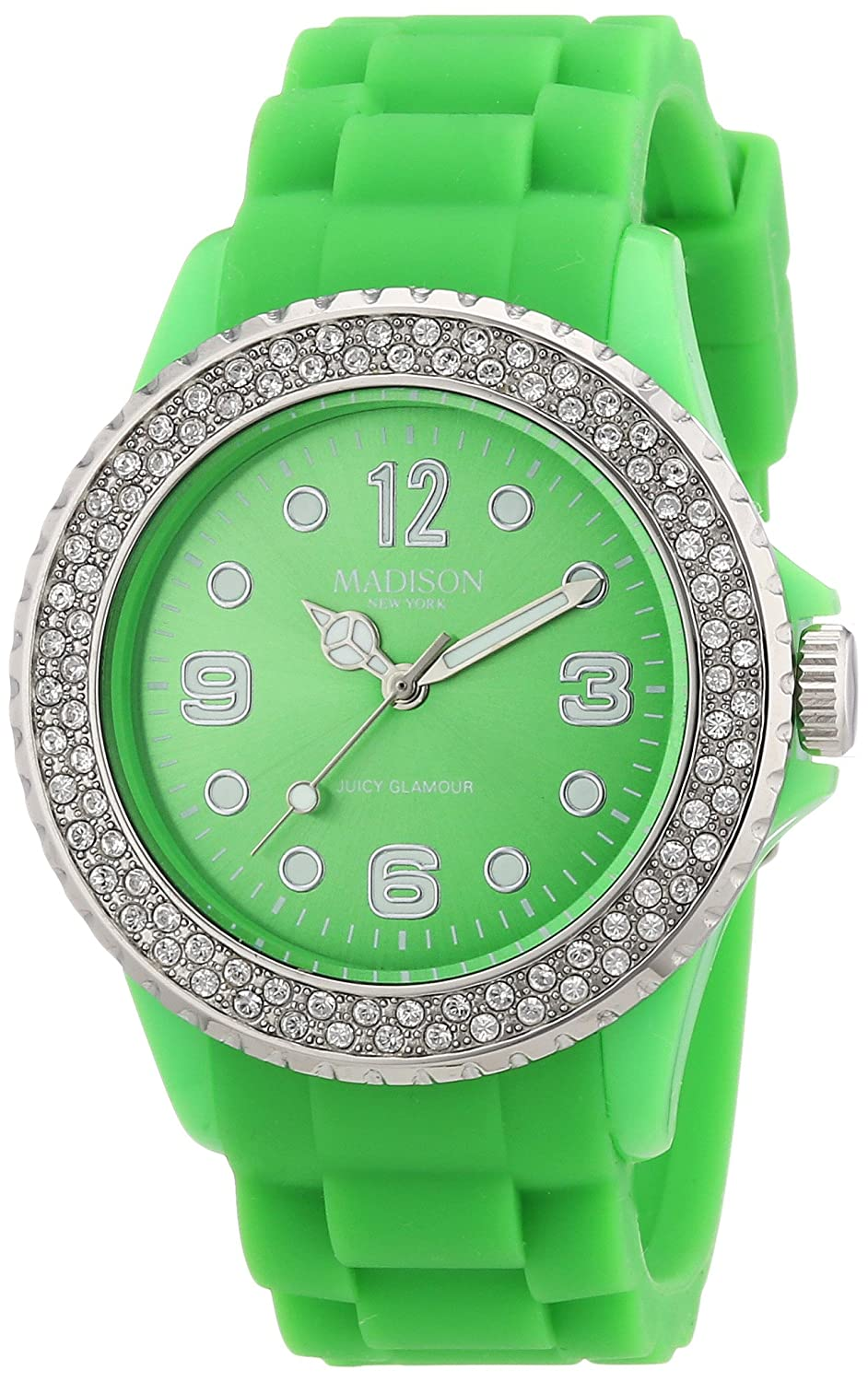 Madison New York U4101Q5 - Reloj analógico de Cuarzo Unisex con Correa de Silicona, Color Verde