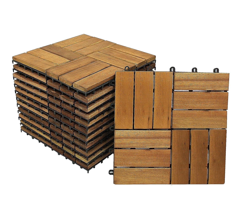 99er Spar-Set f/ür 9m/² Drainage SAM Terrassen- Gartenfliese 02 Akazienholz FSC/® 100/% 30x30cm Klick-Fliese Bodenbelag