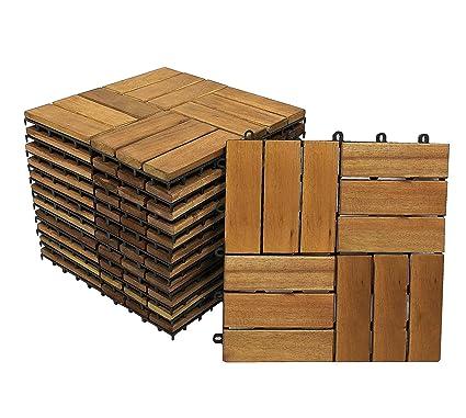 9er Spar-Set SAM Holzfliesen 05 30x30cm Klickfliese Akazien-Holz