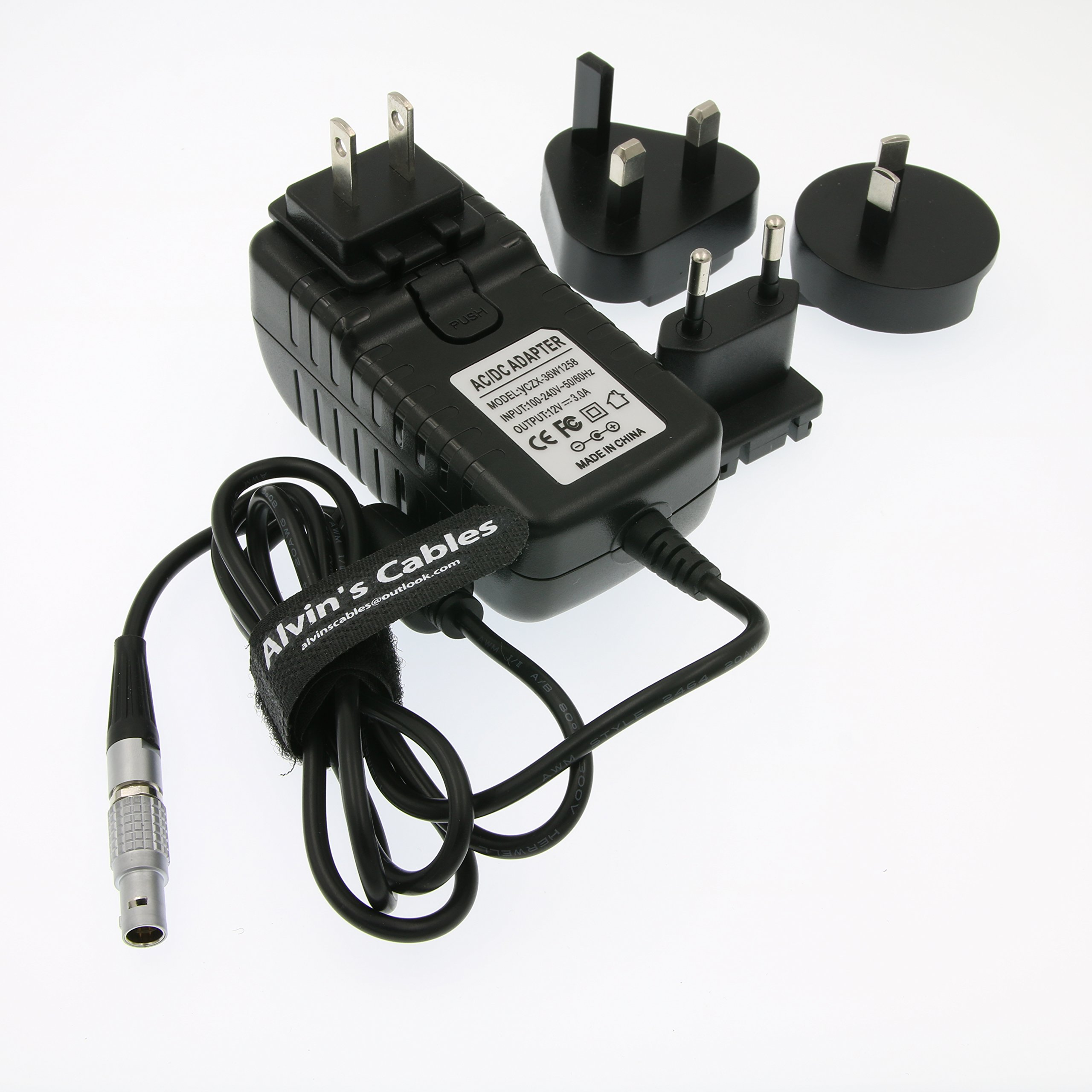 Alvin's Cables Teradek Power Adapter Converter Cable 2 Pin LEMO to Universal AC US UK EU AU Plugs