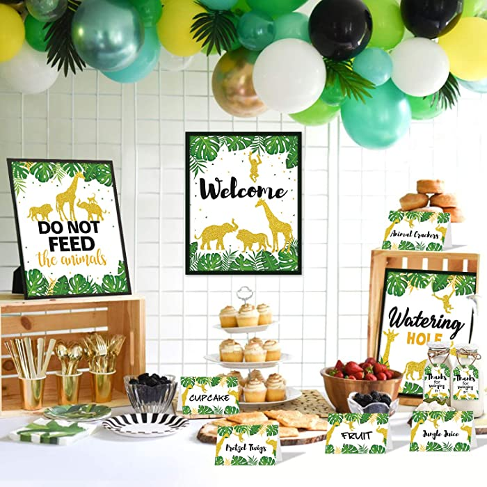 Gold Safari Party Favor Decorations Tropical Jungle Animals Dessert Table Favors Set Welcome Sign Food Labels Cards Thanks Tags For Gold Greenery Jungle Safari Animals Baby Shower Kids Wild One Birthday Party Supplies