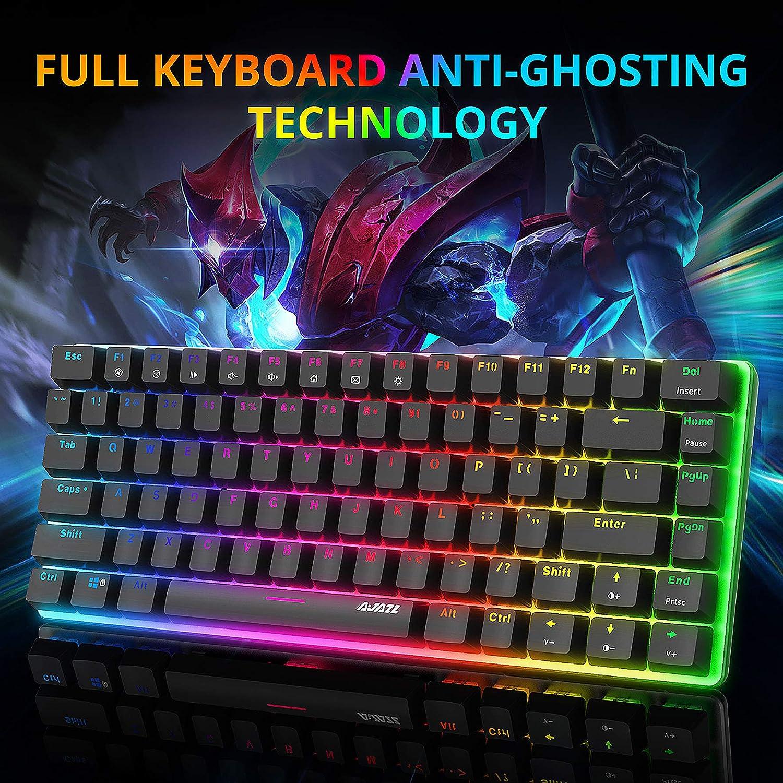 AJAZZ AK33 Teclado mecánico Gaming RGB Azul Switch 82 Teclas 100% Anti-Ghosting 19 Modos de iluminación RGB para PC/Mac con Windows