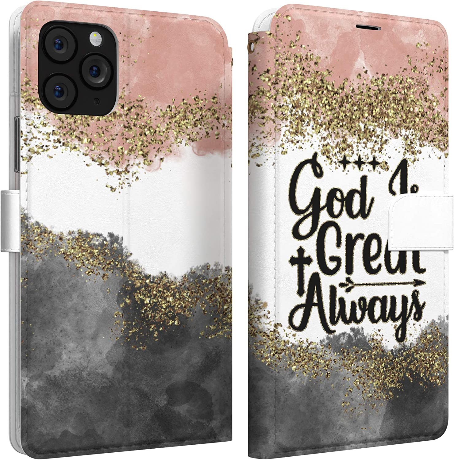 Mertak Wallet Case Compatible with iPhone 12 11 Pro Max SE Xr Xs X 8 Plus 7 6s God is Great Folio Christian Protective Cover Bible Verse Slim Fit Abstract Inspirational Lightweight Flip Quote