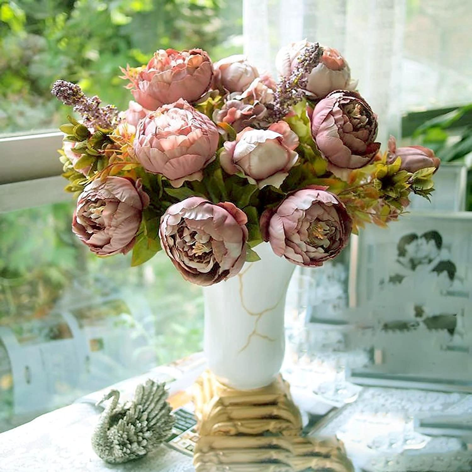 Huntgold 1x artificial peony silk flowers bouquet for wedding huntgold 1x artificial peony silk flowers bouquet for wedding party bouquet decorationcameo amazon computers accessories dhlflorist Images