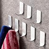SUNTECH Adhesive Hooks – 8 Packs Wall Hooks Self Adhesive Hook Heavy Duty Stick on Bathroom Kitchen, Stainless Steel