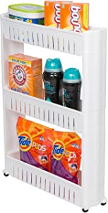 Slim Slide Out Storage Tower for Laundry, Bathroom, or Kitchen By Trademark Innovations