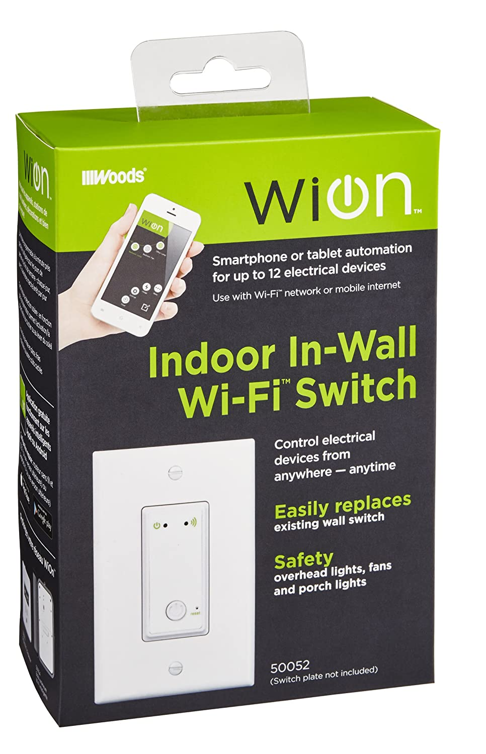 WiOn 50052 Indoor Wi-Fi In-Wall Switch - - Amazon.com