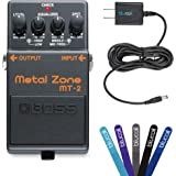 Boss MT-2 Metal Zone Distortion Guitar Pedal -INCLUDES- Blucoil Power Supply Slim AC/DC Adapter for 9 Volt DC 670mA AND 5 Pack of Cable Ties
