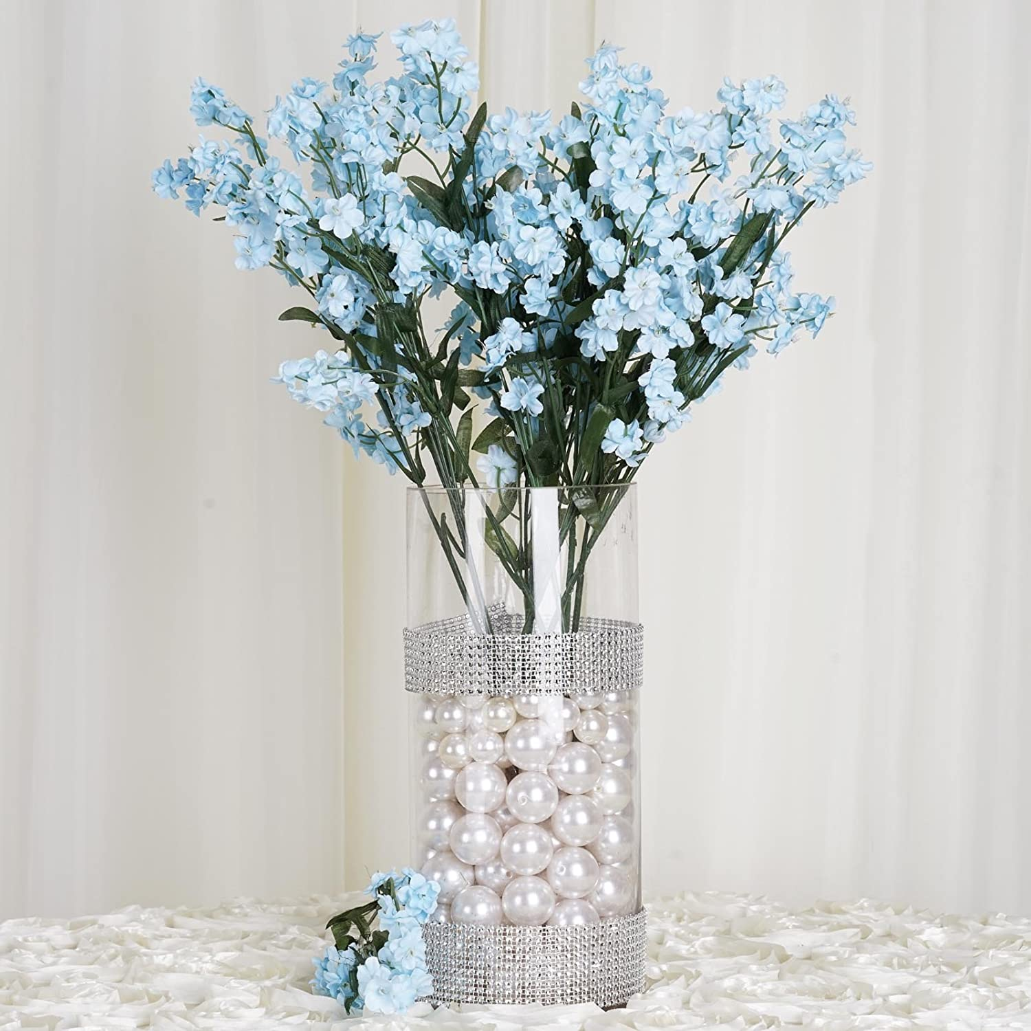 Amazon efavormart 12 bushes baby breath artificial filler amazon efavormart 12 bushes baby breath artificial filler flowers for diy wedding bouquets centerpieces party home decoration light blue home izmirmasajfo