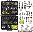 Fishing Terminal Tackle, 160pcs/240pcs Fishing Tackle Box - Fishing Hooks, Weights, Jig Heads, Split Rings, Crossline Barrel Swivels, Fishing Beads, Space Beans - Freshwater & Saltwater Fishing Accessories