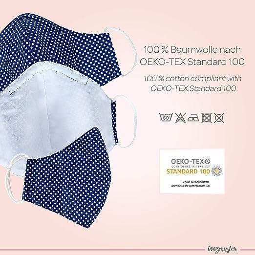 hecho a mano y reutilizable 100/% algod/ón OEKO-TEX 100 con clip nasale y bolsillo para filtro tanzmuster /® mascarilla de tela lavable por adultos y ni/ños