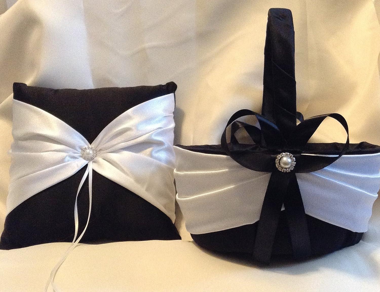 wedding white or ivory on black ring bearer pillow and flower girl basket large