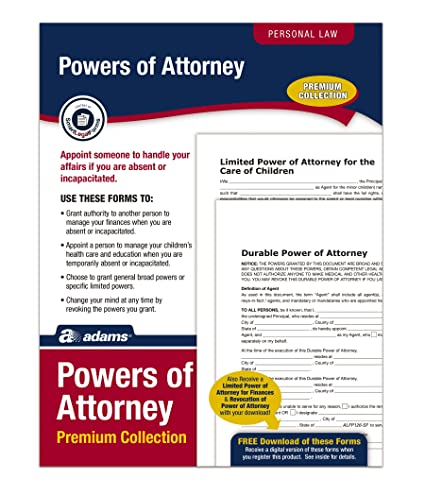 Amazoncom Adams Power Of Attorney Forms Pack Includes Forms And - Free downloadable power of attorney template