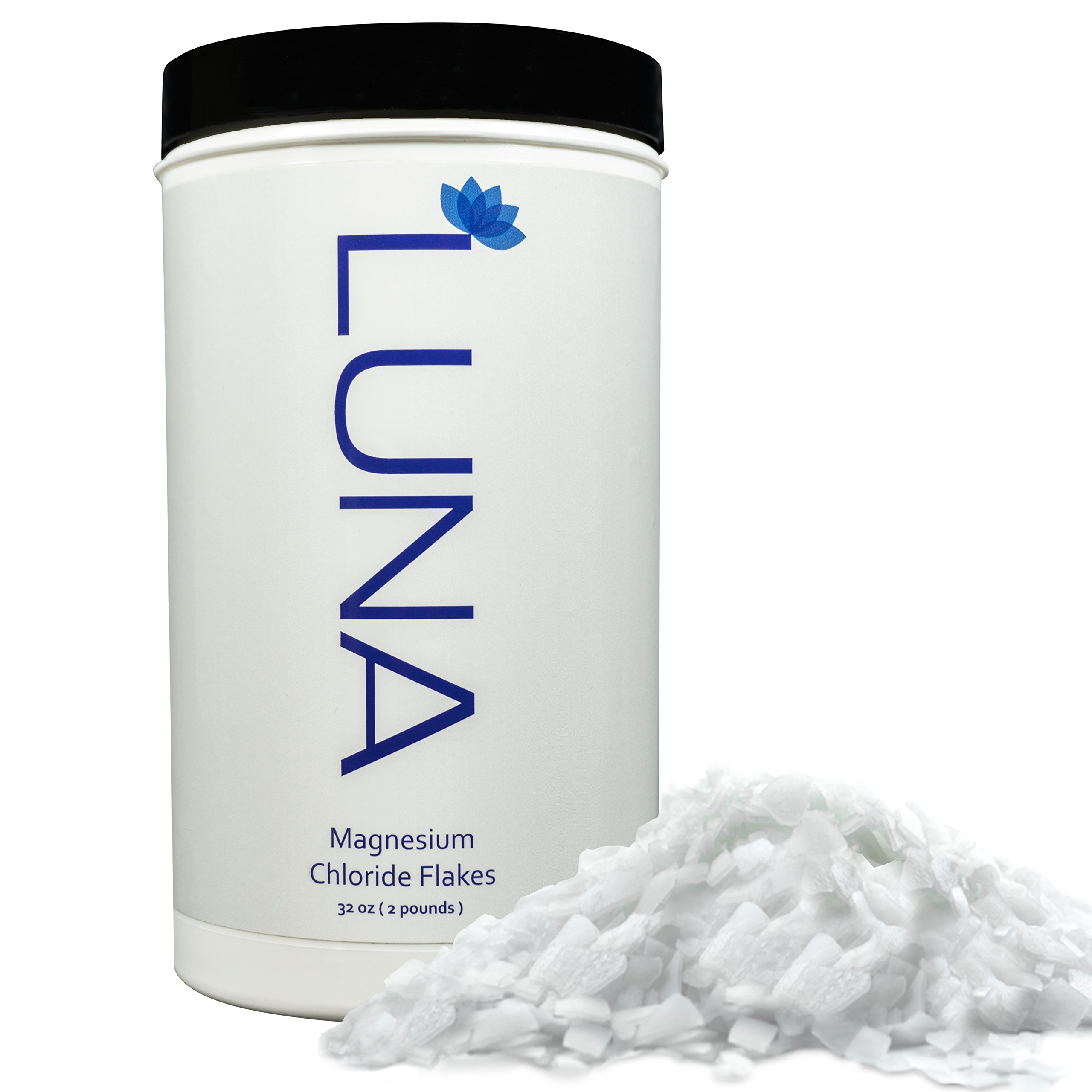 Luna 100% Pure Magnesium Chloride Flakes 2 lb - for Foot and Body Soaks -