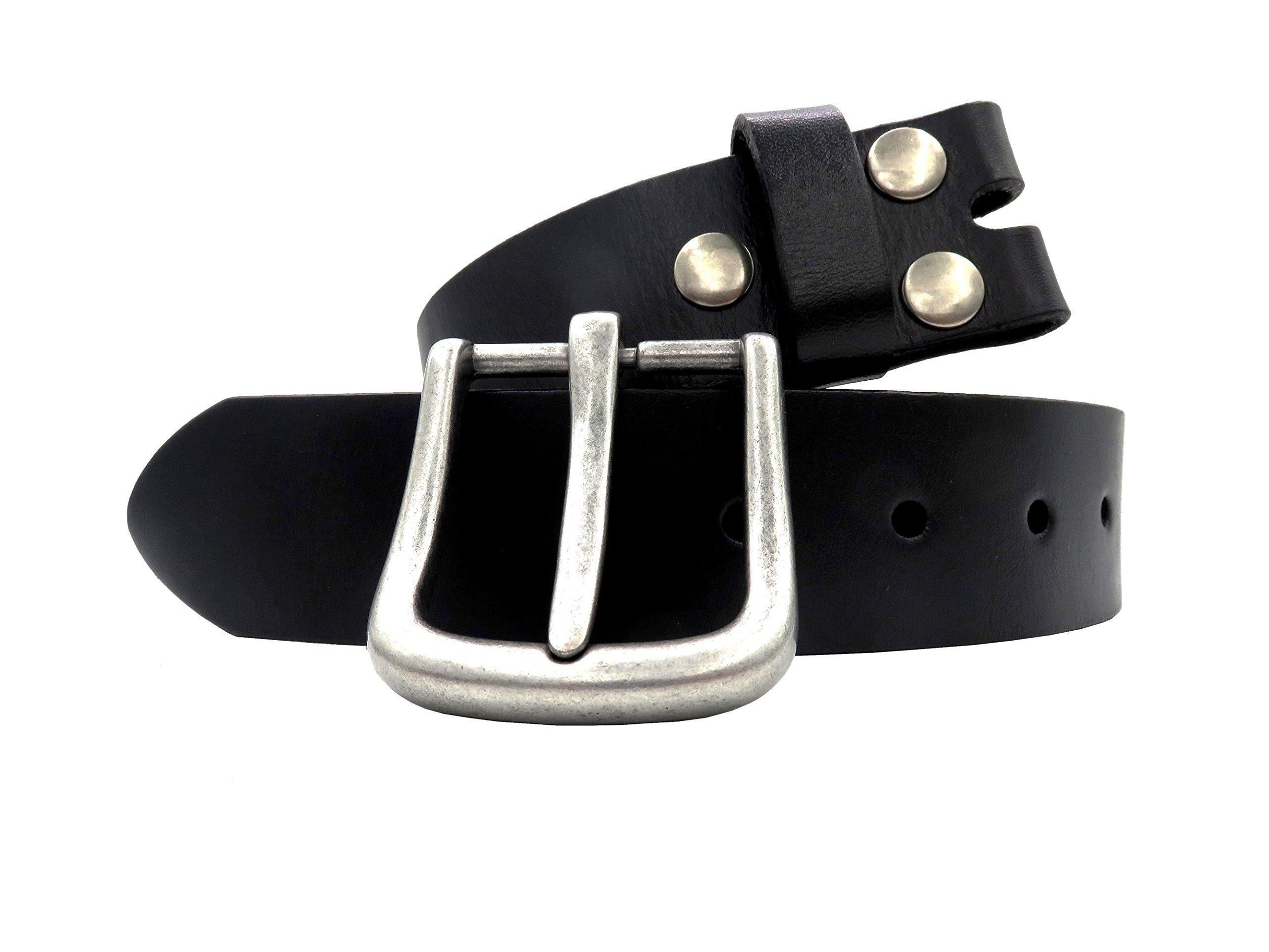 Men's Genuine Leather Belt 38mm(1-1/2'') Cowhide Strap Snap on Belt Full Grain Vintage Finish with Removable Buckle Waist Belts for Jeans - Black