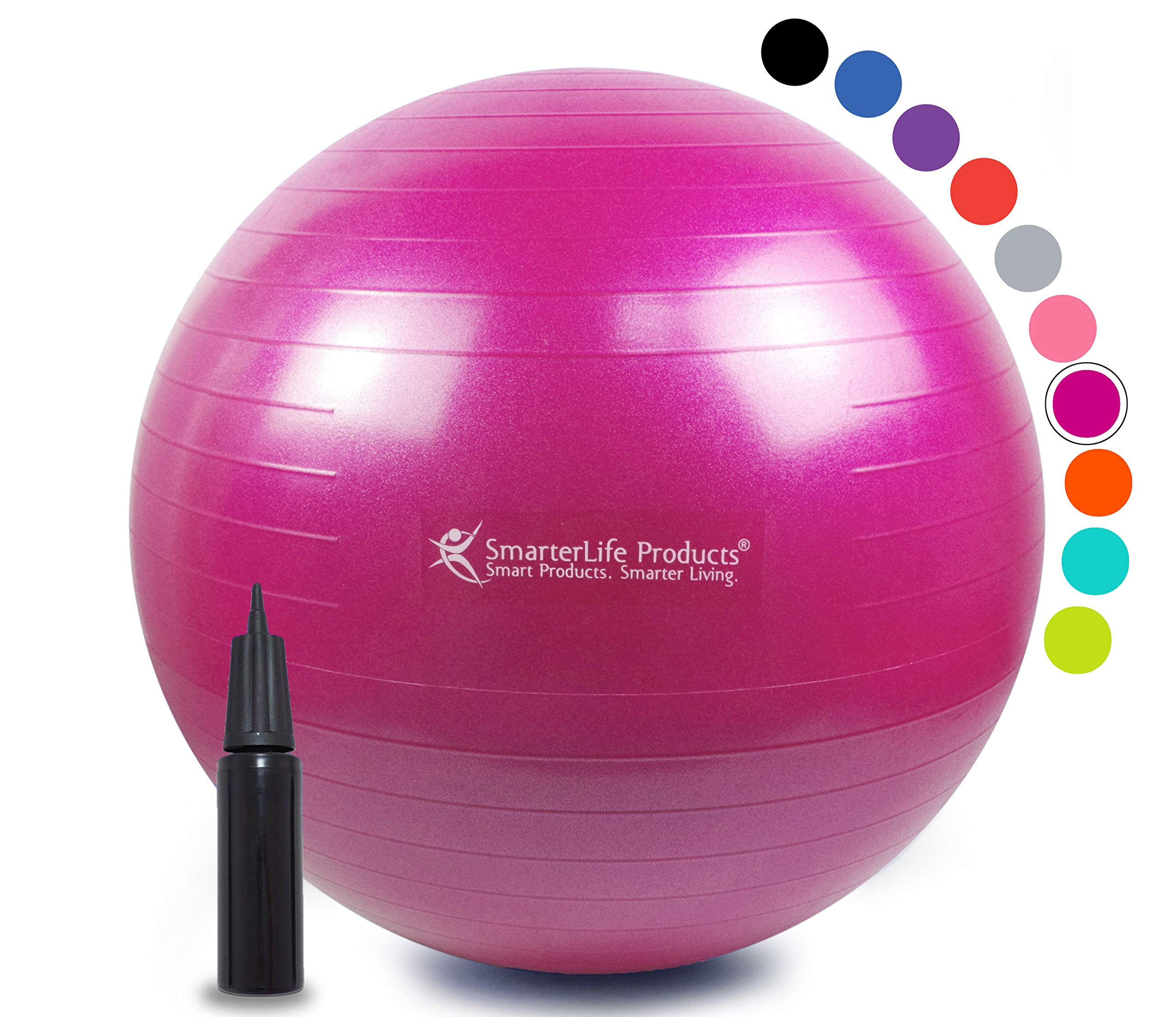 Exercise Ball for Yoga, Balance, Stability from SmarterLife - Fitness, Pilates, Birthing, Therapy, Office Ball Chair, Classroom Flexible Seating - Anti Burst, Non Slip + Workout Guide (Fuchsia, 45 cm) by SmarterLife Products (Image #1)