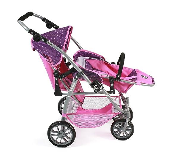 Amazon.es: Bayer Chic 2000 689 40 - Tandem de Buggy Vario, Zwilling Carro para muñecas de hasta 50 cm Aprox., Dots Purple Rosa: Juguetes y juegos