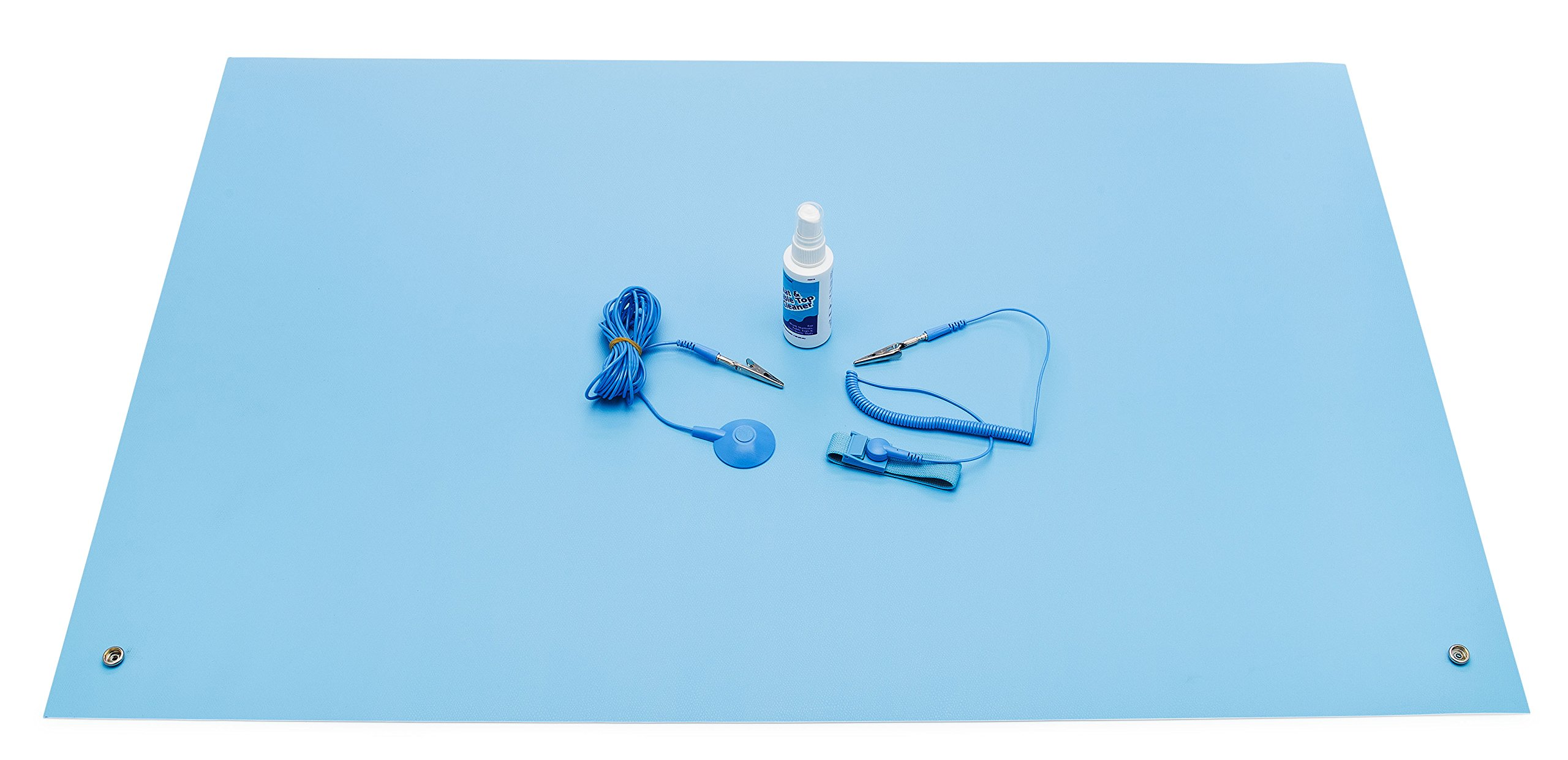 ESD High Temperature Mat Kit | 24'' x 36'' | Sky Blue | with (1) ESD Wrist Strap, (1) ESD Grounding Cord, (1) Bottle of Mat Cleaner by MagnifyLabs (Image #3)