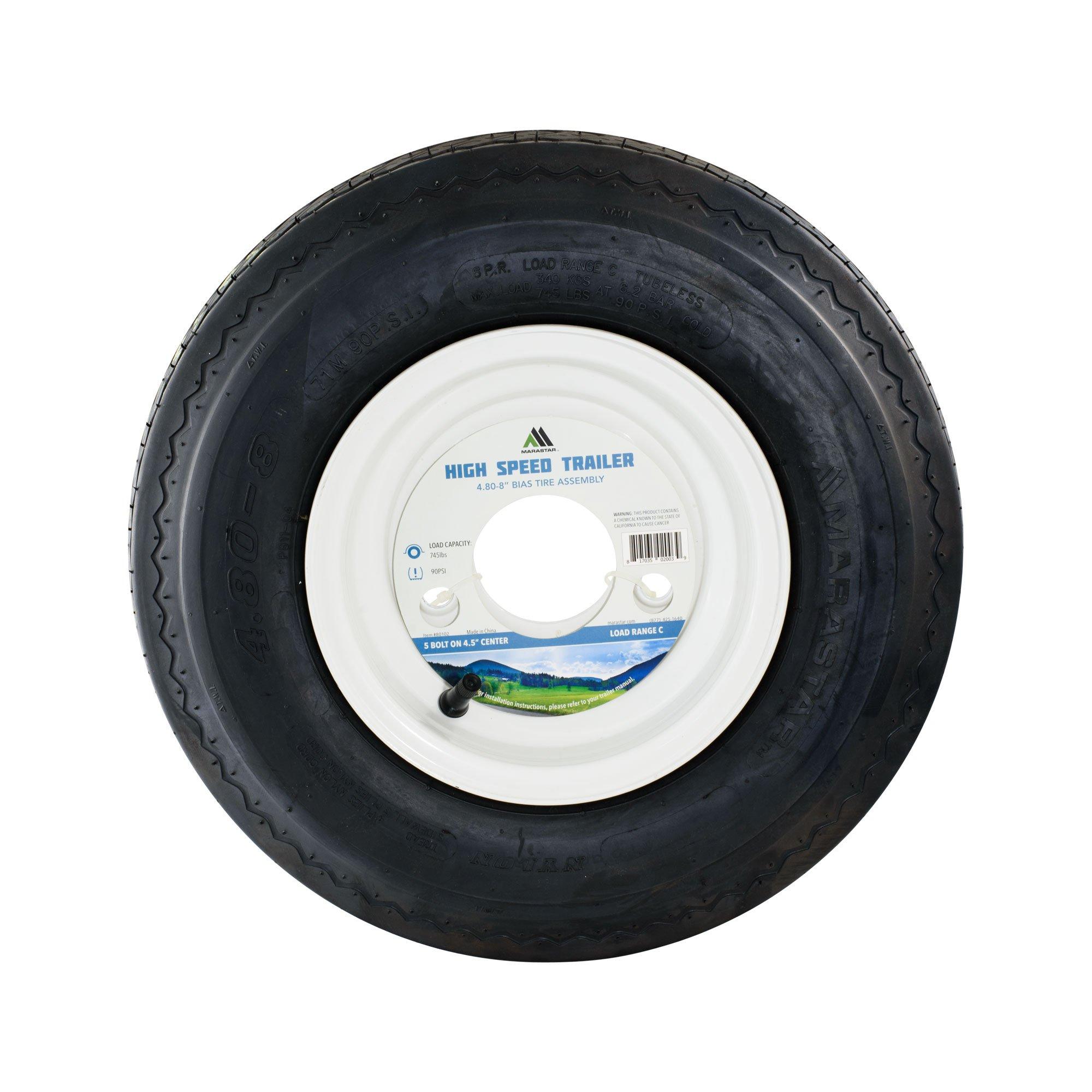 4.80-8 LRC Bias Trailer Tire Mounted on White Solid 5 Lug Wheel