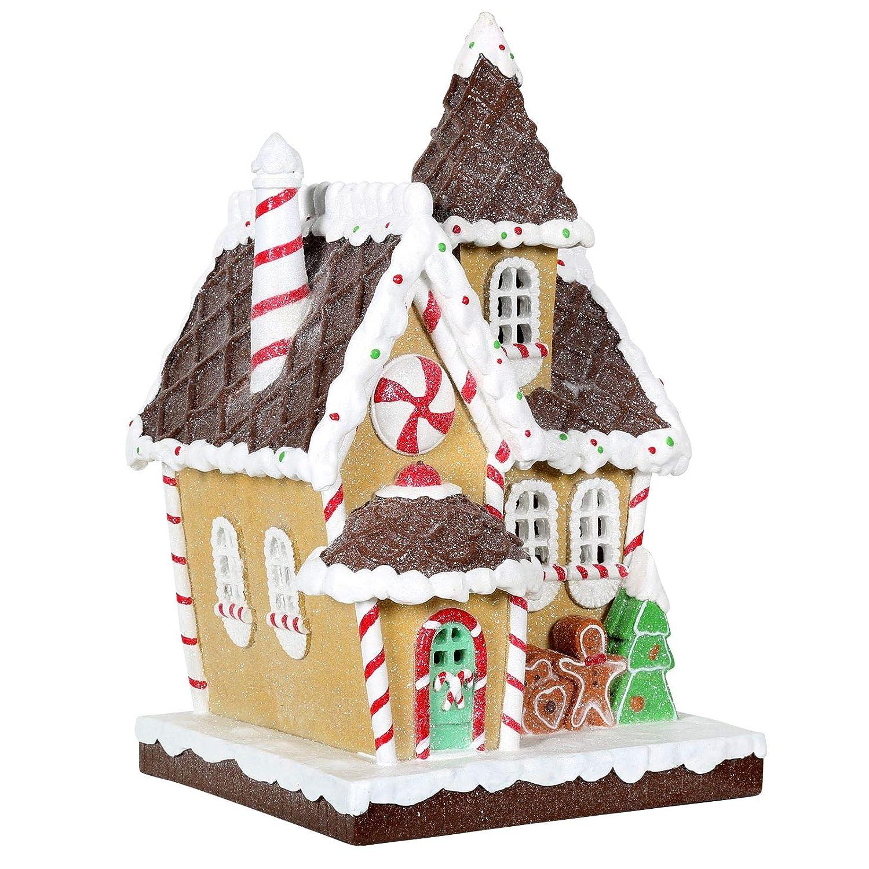 Christmas Gingerbread House.Mr Crimbo Christmas Gingerbread House Light Up Decoration Resin Ornament Snow Frosting Canes Xmas Festive Led 19cm
