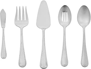 AmazonBasics 5-Piece Stainless Steel Serving Set with Pearled Edge