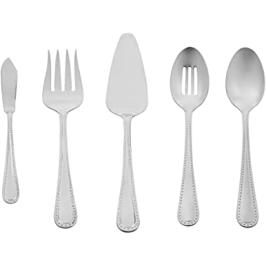 AmazonBasics 5-Piece Stainless Steel Serving Utensil Set with Pearled Edge